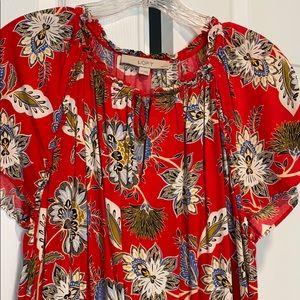 Loft Red Floral Dress